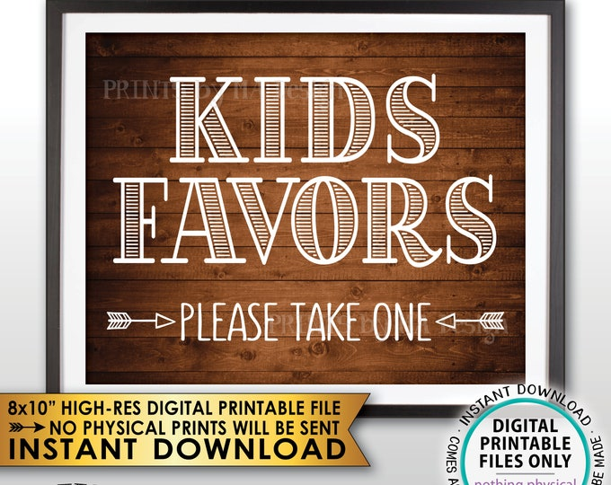 """Kids Favors Sign Please Take One Wedding Reception Activities for Kids Sign, PRINTABLE 8x10"""" Rustic Wood Style Instant Download Wedding Sign"""