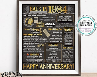 """1984 Anniversary Poster, Back in 1984 Anniversary Gift, Flashback to 1984 Party Decoration, PRINTABLE 16x20"""" Sign <ID>"""