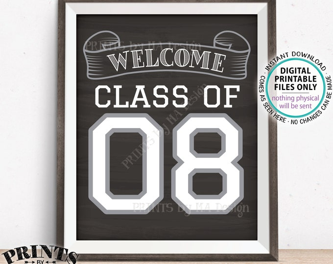 "Class of 08 Sign, Welcome Class of 2008 Welcome Sign, Reunion Decorations, Chalkboard Style PRINTABLE 8x10/16x20"" Class Reunion Sign <ID>"