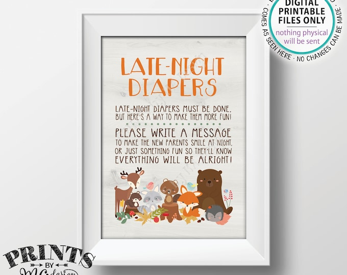 """Woodland Baby Shower Late Night Diapers Sign, Forest Friends Baby Shower Activity Game, PRINTABLE 5x7"""" Woodland AnimalsBaby Shower Sign <ID>"""