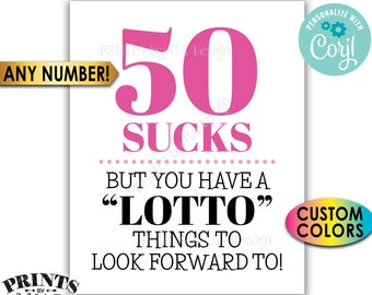 """Lottery Birthday Sign, Sucks but Lotto Things to Look Forward To, Bday Gift, Custom PRINTABLE 8x10/16x20"""" Sign <Edit Yourself with Corjl>"""