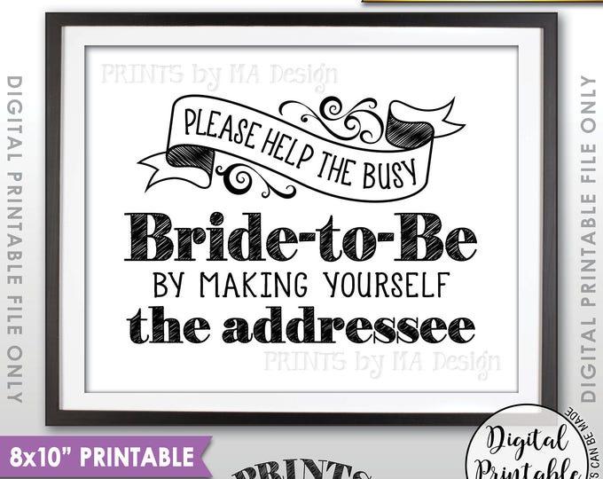 "Address Envelope Bridal Shower Sign, Help the Bride by Addressing an Envelope, Thank You Card Addresee, Printable 8x10"" Instant Download"