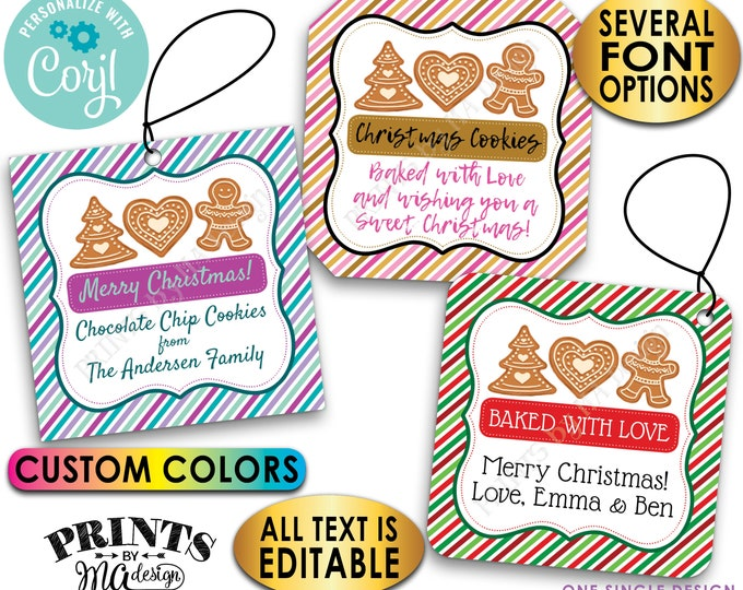 "Christmas Cookie Bakery Tags, From the Kitchen Of, Custom 2"" Square Cards on a Digital PRINTABLE 8.5x11"" File <Edit Yourself with Corjl>"