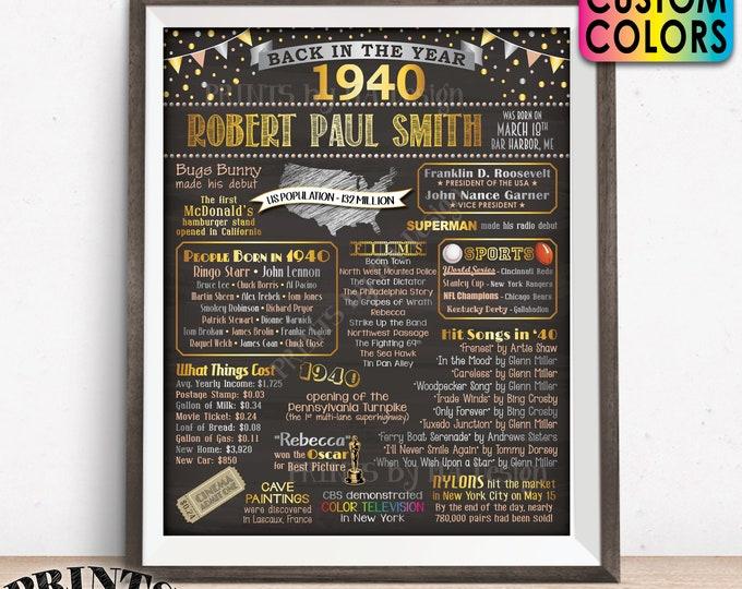 "Back in 1940 Birthday Poster Board, Flashback to 1940 Birthday Decoration, B-day Gift, Custom PRINTABLE 16x20"" Sign"