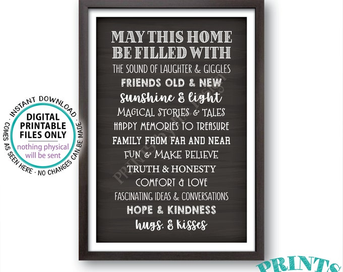 "May This Home Be Filled With Sign, Laughter Giggles Family Friends Stories Memories Hugs, Chalkboard Style PRINTABLE 24x36"" Family Sign <ID>"
