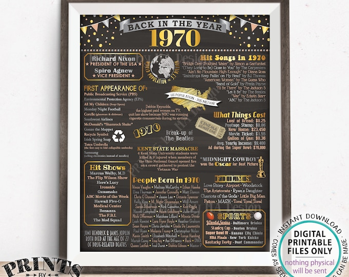 "Back in 1970 Poster, Flashback to 1970 USA History, Remember 1970 Birthday Anniversary Reunion, PRINTABLE 16x20"" Sign <ID>"