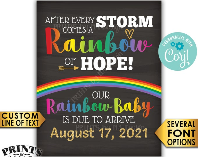 """Rainbow Baby Pregnancy Announcement Sign, Hope after Storm, Chalkboard Style PRINTABLE 16x20"""" Reveal After Loss <Edit Yourself with Corjl>"""