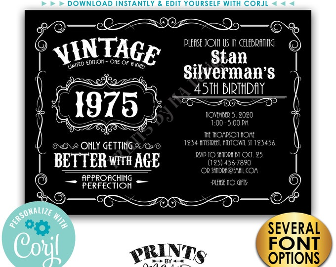 "Vintage Birthday Party Invitation, Better with Age Bday Invite, Whiskey Liquor, PRINTABLE 5x7"" Landscape File <Edit Yourself with Corjl>"