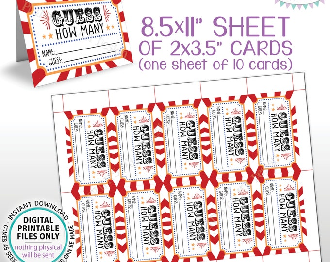 """Guess How Many Carnival Theme Cards, Circus Guessing Game, Birthday Party, Festival, PRINTABLE 8.5x11"""" Sheet of 10 Cards <ID>"""
