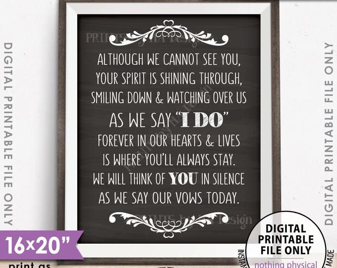 """Heaven Wedding Sign, Although we cannot see you Thinking Of You Wedding Tribute Sign 8x10/16x20"""" Chalkboard Style PRINTABLE Instant Download"""