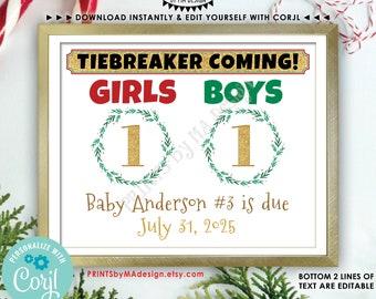 "Christmas Tiebreaker Pregnancy Announcement, Baby Number 3, Boys vs Girls, PRINTABLE 8x10/16x20"" Baby #3 Xmas Sign <Edit Yourself w/Corjl>"