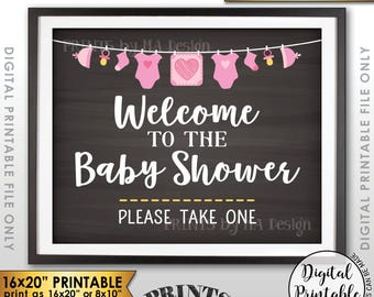 """Baby Shower Welcome Sign, Welcome to the Baby Shower Sign, Baby Shower Favors, Take One, 16x20"""" Chalkboard Style Printable Instant Download"""