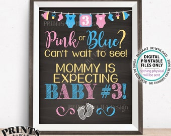 """Baby Number 3 Pregnancy Announcement, Pink or Blue Can't Wait to See Baby #3, Mommy is Expecting 3rd Baby, PRINTABLE 16x20"""" Sign <ID>"""