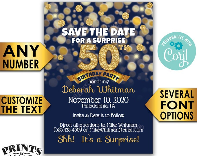 "Surprise Birthday Party Save the Date, Navy Blue & Gold Glitter Birthday, PRINTABLE 5x7"" Golden Bday Invite <Edit Yourself with Corjl>"
