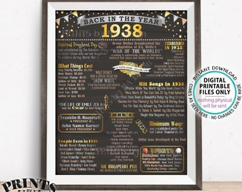 "Back in 1938 Poster Board, Flashback to 1938, Remember 1938, USA History from 1938, PRINTABLE 16x20"" 1938 Sign <ID>"