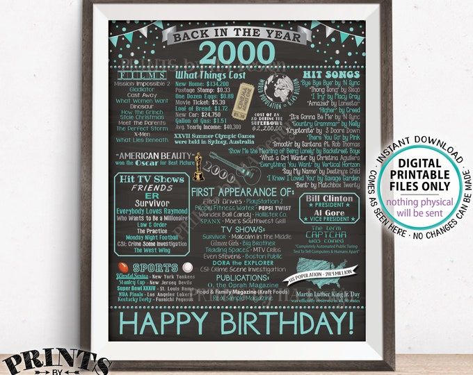 """Back in 2000 Birthday Sign, Flashback to 2000 Poster Board, '00 B-day Gift, Teal Bday Decoration, PRINTABLE 16x20"""" Sign <ID>"""