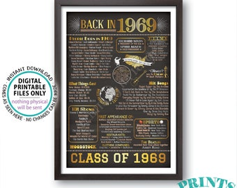 "Class of 1969 Reunion, Flashback to 1969 Reunion Sign, Back in 1969 Graduating Class, PRINTABLE 24x36"" Chalkboard Style 1969 Sign <ID>"