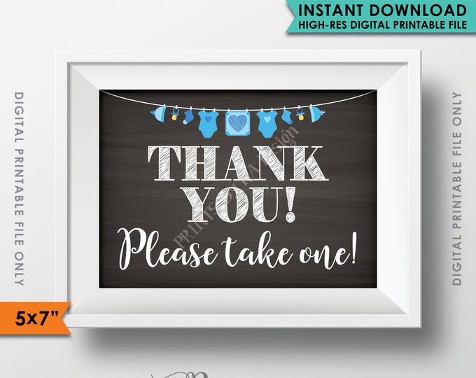 """Thank You Sign, Thank You Please Take One Favors Sign, Baby Shower Sign, Blue Clothesline, Chalkboard Style PRINTABLE 5x7"""" Sign <ID>"""