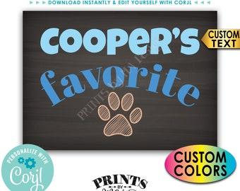 "Dog's Favorite Treat Sign, Dog Pawprint Sign, Dog Treats Display, Custom PRINTABLE Chalkboard Style 5x7"" Sign <Edit Yourself with Corjl>"