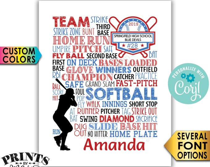 "Personalized Softball Sign, Gift for Seniors, Senior Year Graduation Party Gift for Girls, PRINTABLE 8x10"" Sign <Edit Yourself with Corjl>"