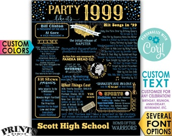 "Party like it's 1999 Poster, Birthday Anniversary Reunion Retirement, Custom PRINTABLE 16x20"" '99 Flashback Sign <Edit Yourself with Corjl>"