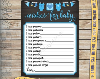 """Wishes for Baby Cards, Hope for Baby, Wishes Shower Activity, Blue Clothesline Boy, Chalkboard 5x7"""" Instant Download Digital Printable File"""