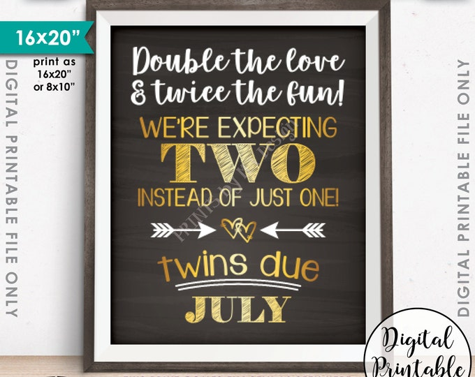 Twins Pregnancy Announcement, Double the Love & Twice the Fun, Twins due JULY Dated Chalkboard Style PRINTABLE Twins Reveal Sign <ID>