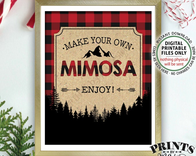 "Lumberjack Mimosa Sign, Make your own Mimosa, Bridal Shower Brunch Birthday Wedding, Red Checker Plaid, Christmas, PRINTABLE 8x10"" Sign <ID>"