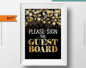 """Please Sign the Guest Board Sign, Birthday Anniversary Retirement Graduation Party, Guestbook, Black & Gold Glitter PRINTABLE 5x7"""" Sign <ID>"""