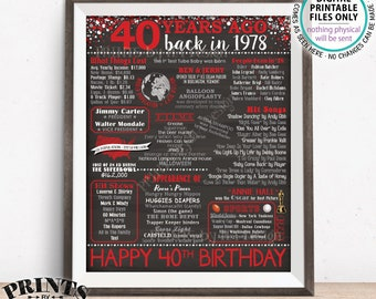 """40th Birthday Gift, Flashback 40 Years Ago, Born in 1978 Birthday Back in 1978 B-day, Red, PRINTABLE 8x10/16x20"""" Chalkboard Style Sign <ID>"""