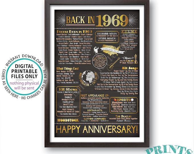 "Back in 1969 Anniversary Sign, Flashback to 1969 Anniversary Decor, Anniversary Gift, PRINTABLE 24x36"" Poster Board <ID>"