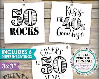 """50th Birthday Party Candy Signs, Candy Bar, 50 Sucks Blows Rocks, Kiss 40s Goodbye, B-day, Square 3x3"""" tags on PRINTABLE 8.5x11"""" Sheet <ID>"""