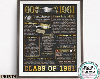 """60th High School Reunion Decoration, Class of 1961 Graduated 60 Years Ago, Back in the Year 1961 Poster Board, PRINTABLE 16x20"""" Sign <ID>"""