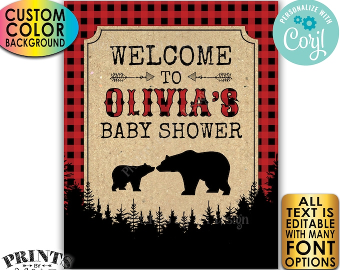 "Lumberjack Baby Shower Sign, Custom Name & Color PRINTABLE 8x10/16x20"" Black Checker Welcome Sign <Edit Yourself with Corjl>"