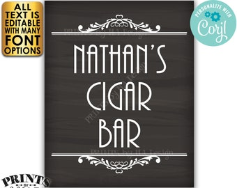 "Cigar Bar Sign, Editable Bar Sign, Custom PRINTABLE 8x10/16x20"" Chalkboard Style Sign, Man Cave Decoration <Edit Yourself with Corjl>"