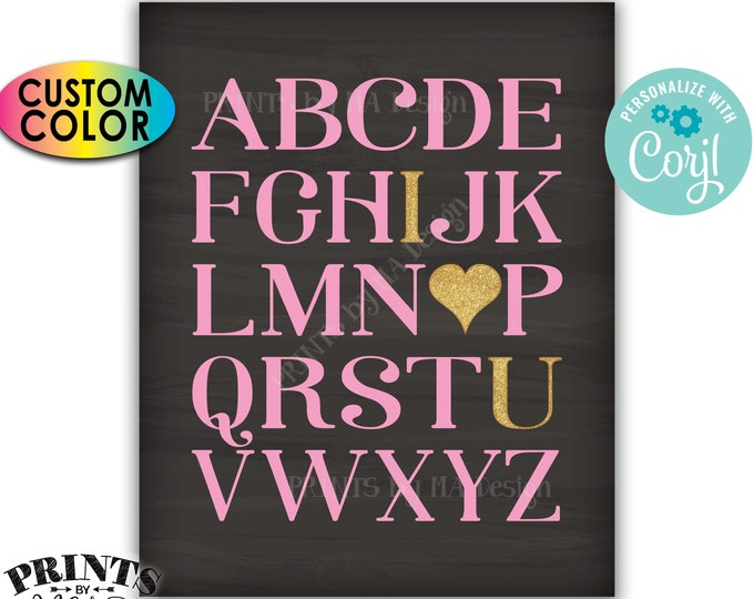Alphabet I Love You Sign, ABC Playroom Wall Art, Nursery Decor, Gold Glitter, PRINTABLE Chalkboard Style Sign <Edit Yourself with Corjl>