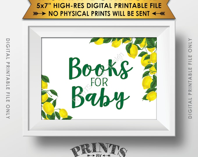 "Books for Baby Lemon Themed Baby Shower Sign, Lemon Shower, Tuscan Garden Party, Tropical, Summer, Italy, 5x7"" Printable Instant Download"