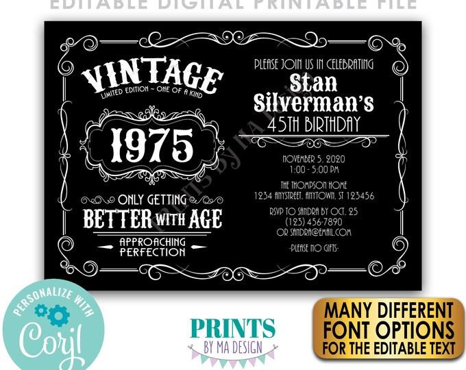 "Vintage Birthday Party Invitation, Better with Age Bday Invite, Whiskey Liquor, Black PRINTABLE 5x7"" Landscape File <Edit Yourself w/Corjl>"