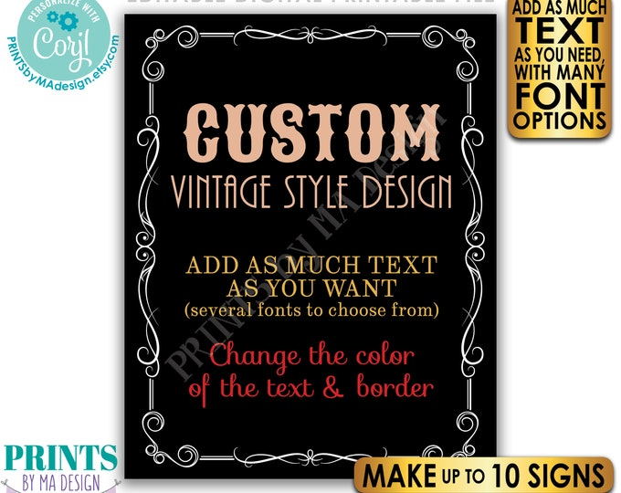 """Custom Vintage Style Sign, Better with Age Liquor Themed Party, Black Background, Up to 10 PRINTABLE 16x20"""" Signs <Edit Yourself w/Corjl>"""