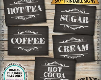 "Coffee Bar Signs, Coffee Sign, Beverage Station, Hot Tea, Hot Cocoa, Wedding Shower Graduation, 5 Chalkboard Style PRINTABLE 5x7"" Signs <ID>"