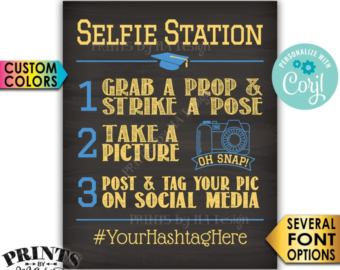 "Graduation Selfie Station Hashtag Sign, PRINTABLE 8x10/16x20"" Chalkboard Style Graduation Party Decorations <Edit Yourself with Corjl>"