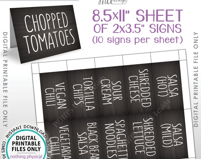 """Chili Bar Labels, Chili Buffet, Chili Station, Build Your Own Bowl of Chili, 30 Chalkboard Style Chili Labels, PRINTABLE 8.5x11"""" Sheet <ID>"""