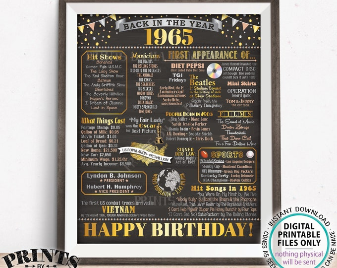 "1965 Birthday Flashback Poster, Back in the Year 1965 Birthday Decoration, '65 B-day Gift, PRINTABLE 16x20"" B-day Sign <ID>"