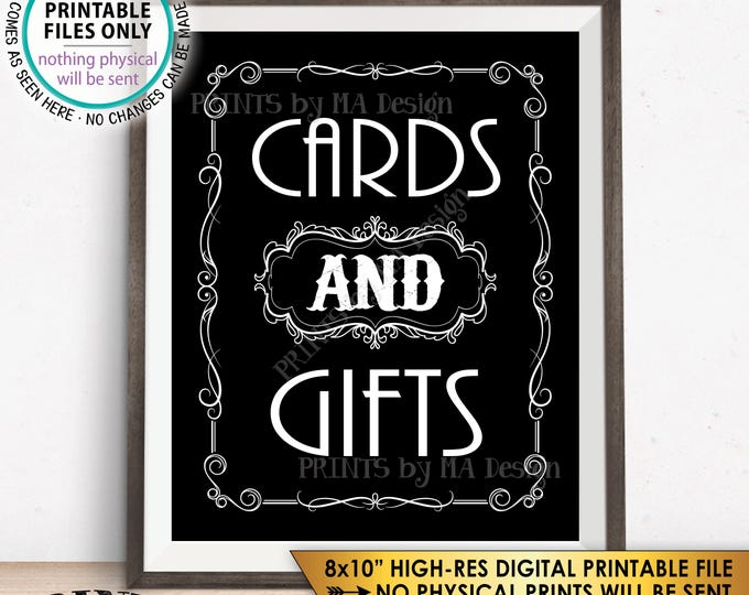 "Cards & Gifts Sign, Cards and Gifts Whiskey Birthday, Better with Age Vintage Whisky Decor, Black and White PRINTABLE 8x10"" Gifts Sign <ID>"