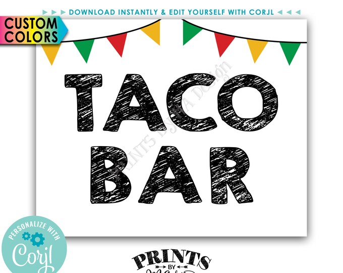 """Taco Bar Sign, Taco Sign with Flags, Cinco de Mayo Fiesta, PRINTABLE 8x10"""" Sign <Edit Colors Yourself with Corjl>"""