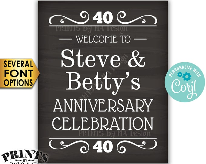 """Welcome to the Anniversary Celebration, Anniversary Party Decor, Custom PRINTABLE 16x20"""" Chalkboard Style Sign <Edit Yourself with Corjl>"""