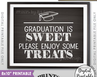"""Graduation is Sweet Please Enjoy Some Treats, Sweet Treats Graduation Party Sign, Candy, 8x10"""" Chalkboard Style Printable Instant Download"""