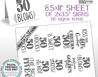 "50th Birthday Party Candy Signs, Cheers to 50 Candy Bar, 50 Sucks Blows Rocks Sweet, Kiss 40s Goodbye, PRINTABLE 8.5x11"" Sheet of Cards <ID>"