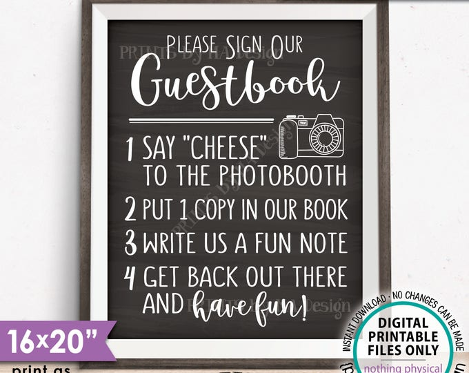 """Guestbook Photo Sign, Add photo to the Guest Book Sign Photo Booth, Wedding Photobooth, PRINTABLE 8x10/16x20"""" Chalkboard Style Sign <ID>"""