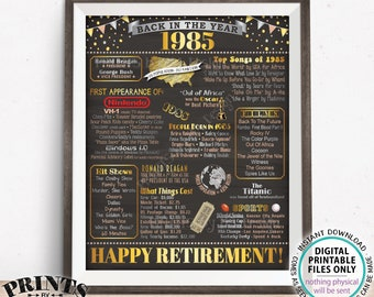 "Back in the Year 1985 Retirement Party Poster Board, Flashback to 1985 Sign, PRINTABLE 16x20"" Retirement Party Decoration <ID>"